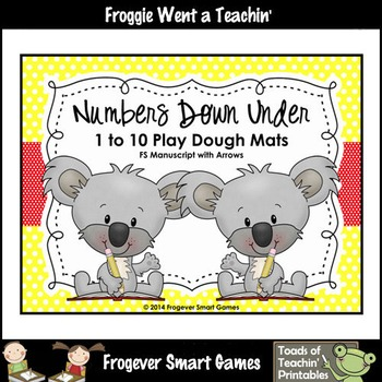 Math Center--Numbers Down Under 1 to 10 Play Dough Mats (starting dots/arrows)