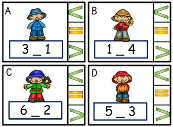 Math Center  Numbers Less Than, Greater Than, Equal To, Scarecrows