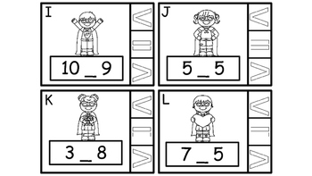 Math Center  Numbers Less Than, Greater Than, Equal To, Valentine Super Heros