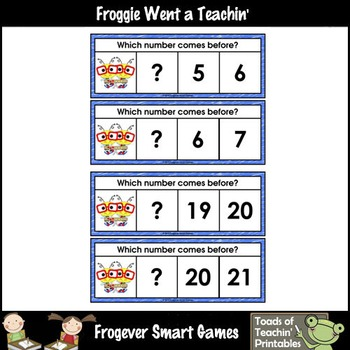 Math Center--Numbers are Bee-rrific What Comes Before? Ten Frames & Numbers