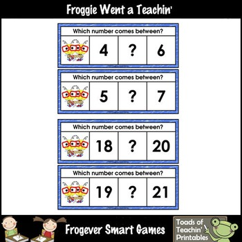Math Center--Numbers are Bee-rrific What Comes Between? Ten Frames & Numbers