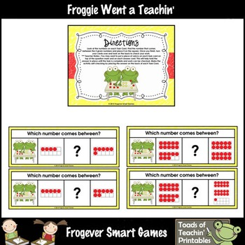 Math Center--Numbers are Frogtastic What Comes Between? Ten Frames & Numbers