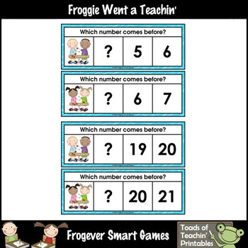 Math Center--Numbers are Fun What Comes Before? Ten Frames & Numbers