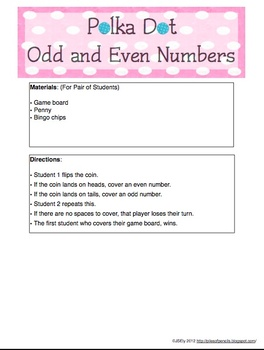 Math Center: Odd and Even Numbers (Polka Dot Theme)