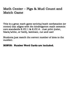 Math Center - Pigs & Mud Count and Match Game
