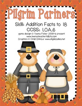 Math Center Pilgrim Partners 1 digit  Addition Sums 10-18 Thanksgiving