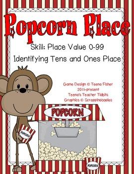 Popcorn Place Value 1-99 Math Center Envelope Game