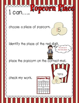 Popcorn Place Value 1-99 Math Center Envelope Game