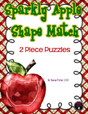 Math Center Preschool Toddler Sparkly Apple Shape Match Envelope Game