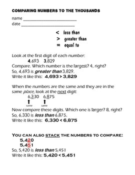 Math Center Printable for Comparing Numbers to the Thousands