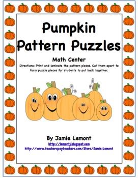 Math Center Pumpkin Pattern Puzzles