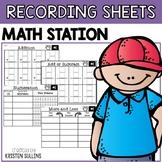 Math Center Recording Sheets