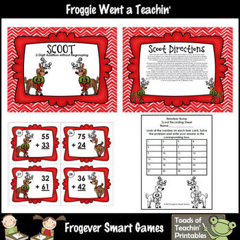 """2 Digit Addition Without Regrouping -- """"Reindeer Romp"""""""