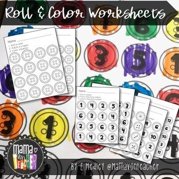Math Center: Roll, Count & Graph, Buttons, Groovy Buttons {Prek-1}