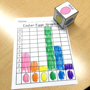 Math Center: Roll, Count & Graph, Easter Egg, Easter Theme {PreK-1}