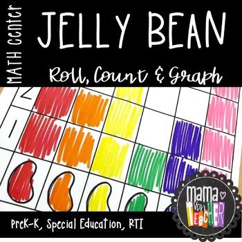 Math Center: Roll, Count & Graph, Jelly Beans, Easter Theme {PreK-1}