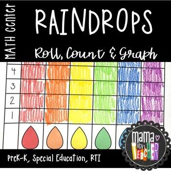 Math Center: Roll, Count & Graph, Raindrops {PreK-1}