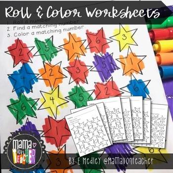 Math Center: Roll, Count & Graph, Stars, Outer Space {Prek-1}