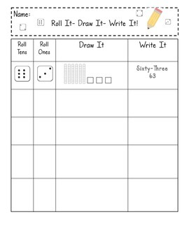 Math Center, Roll It. Draw It. Write It. - Using Tens Sticks and Ones Cubes