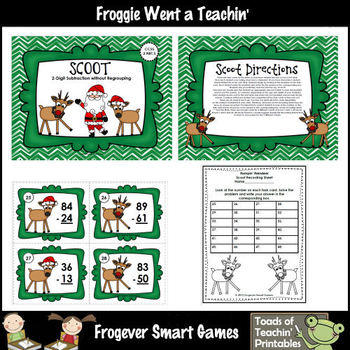 """2 Digit Subtraction Without Regrouping -- """"Rompin' Reindeer"""""""