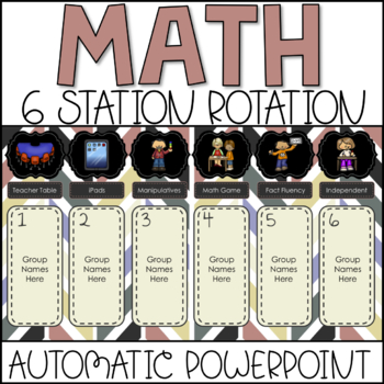 Math Center Rotation Automatic PowerPoint (6 Rotations)