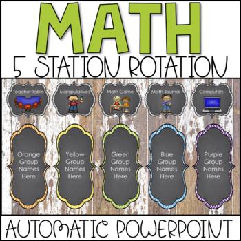 Math Center Rotations Automatic PowerPoint (Farm-style Theme)