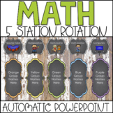 Center Rotations Automatic PowerPoint Chart | 5 Math Stations