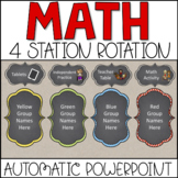 Math Center Rotations Automatic PowerPoint (custom request chalkboard)