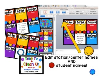 Math Center Rotations Editable Powerpoint Bright Smiles Design