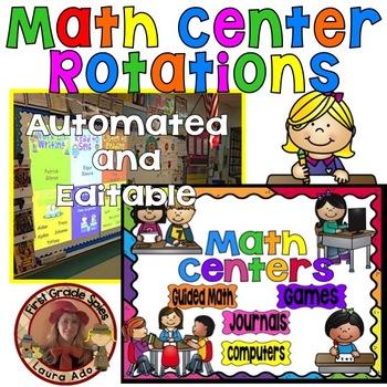 Math Center Rotations Editable Powerpoint Rainbow Design