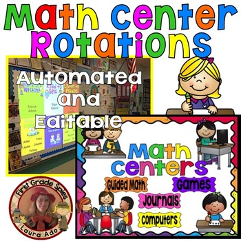 Math Center Rotations Editable Powerpoint Rainbow Design