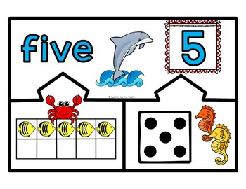Math Center: SEA LIFE Number Puzzles 1 – 10 - Ten Frames and Dice