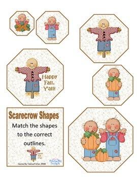 Math Center Scarecrow Shapes Autumn Toddler Preschool Games
