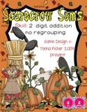 Scarecrow Sums Math Center 2 digit Addition No Regrouping Fall