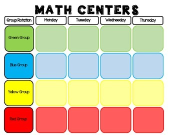 Math Center Schedule (Color Coded)