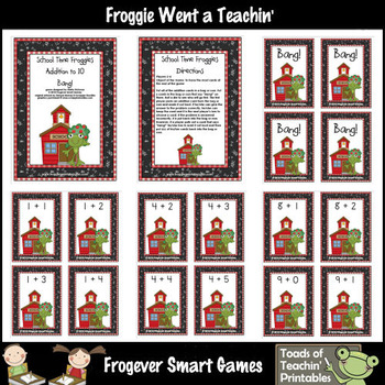 Math Center -- School Time Froggies (addition with sums to 10)