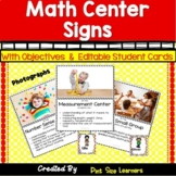 Math Center Signs | Center Posters | Editable Student Cards
