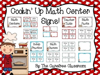 Math Center Signs: Cooking Themed EDITABLE