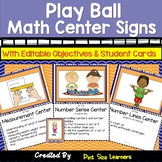 Sports Themed Math Center Signs & Posters | EDITABLE | Objectives Listed