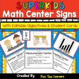 Superhero Themed Math Center Signs and Posters | EDITABLE | Super Hero Centers