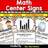 Math Center Signs With Editable Objectives and  Student Cards
