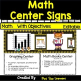 Math Center Signs With Objectives and Editable Student Cards Bee Theme