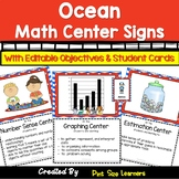 Math Center Signs With Objectives and Editable Student Cards Ocean Theme