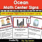 Under the Sea EDITABLE Math Center Signs | Ocean Math Center Cards | Objectives
