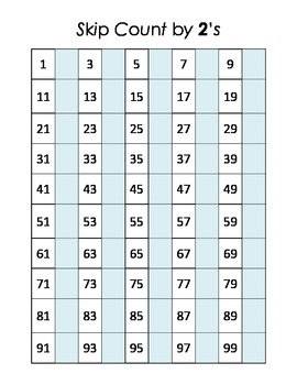 Math Center Skip Counting by 2's  Hundred Chart