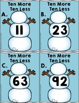 Math Center: Snowman Ten More Ten Less Write The Room