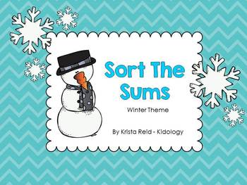 Math Center - Sort The Sums - Winter Theme  CCSS