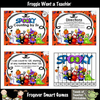 Math Center--Spooky Counting by 5s (Sequencing Numbers Puzzles)