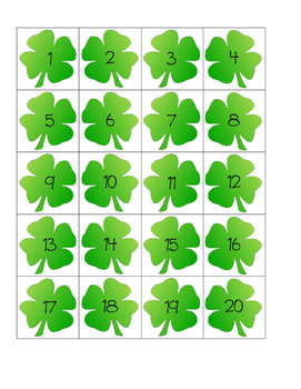 Math Center: St Patrick Day Counting to 120