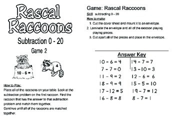 Math Center - Subtraction Center Activity up to 20 for up to 4 children.